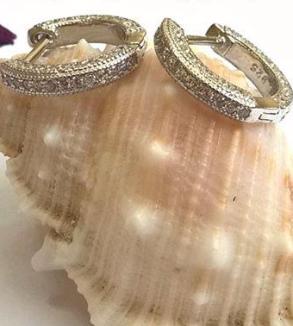 گوشواره نقره با آبکاری طلا سفید-MainImage