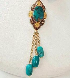 Turquoise Gold Pendant-BackImage