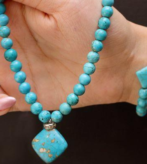 Natural turquoise bracelets and necklaces-BackImage