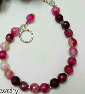 Indonesian Pink Opal Stone Bracelet-backImage