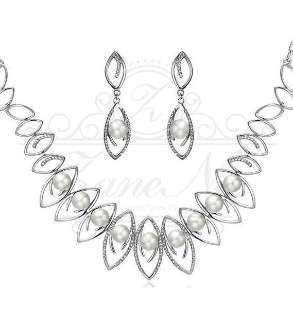 Silver & Pearl Necklace and Earrings-MainImage