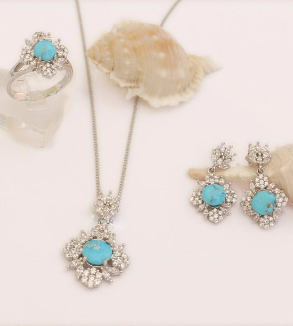 Turquoise Earrings, ring & Necklace-MainImage