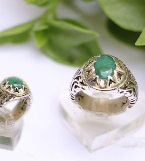 Silver Ring with Emerald Stone-MainImage